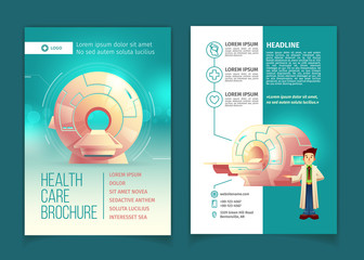 Vector medical examination brochure, health care concept with cartoon MRI scanner for tomography and doctor. Booklet, advertising flyer with diagnostic in hospitals, clinics. Modern technologies.