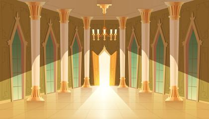 Vector castle hall, interior of ballroom for dancing, presentation or royal reception. Big room with chandelier, closed windows. Open door, light illuminates columns, pillars in luxury medieval palace