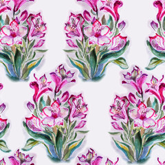 Bouquets of pink flowers, floral background. Seamless pattern, watercolor illustration.