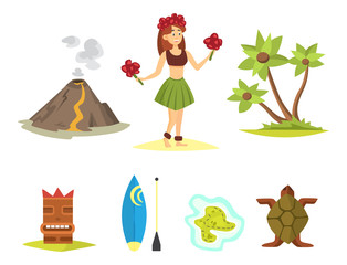 Hawaii icons dancer woman tiki gods totem pole tiki torches and fish vector illustration.