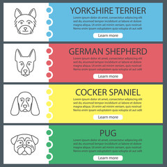 Dogs breeds web banner templates set