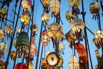 South Korea, Seoul, Lanterns lit up in the Buddhist temple of Jogyesa