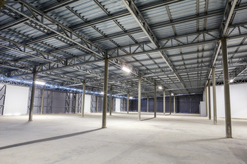 empty storage room, warehouse or hangar