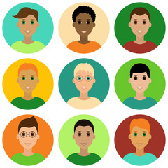 Cute children male avatar set. Boys, youngsters, teenagers. Diverse kids faces, different haircuts. Vector clipart illustration isolated on white background
