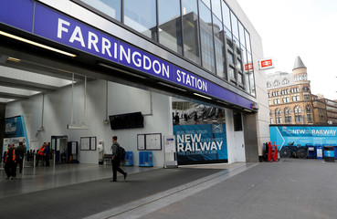 Farringdon station which will be an entrance to Crossrail's  Elizabeth line is seen in London