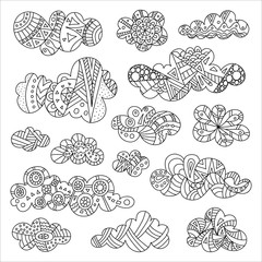 Vector doodle clouds. Hand drawn illustration. Decorative clouds of various shapes and designs. Sketch.