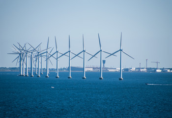 Close-up of an electric generating wind farm in the Baltic Sea between Germany and Denmark