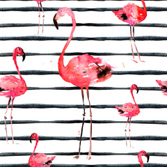Hand Drawn Illlustration With Flamingo and Stripes. Exotic Summer Beach Motif. Swimwear Design, Wrapping, Background, Wallpaper, Fabric. Hawaiian Print. Jungle Birds Repeated Ornament. Africa.