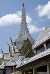 White temple of Bangkok City Pillar Shrine, Thailand