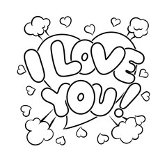 I love you words comic book coloring vector