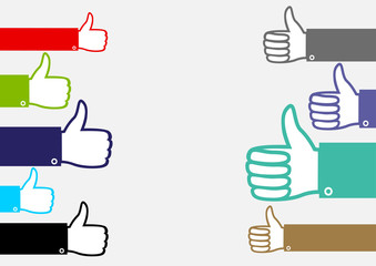 Many multicolor hands show like. Colorful hand palm set with raised upward finger on white transparent background. Good well sign collection