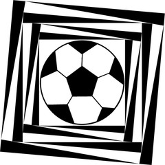 Dynamic soccer ball pattern in a black  - white colors