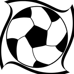 Dynamic soccer ball pattern in a black spirals