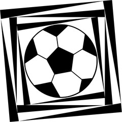 Abstract pattern with soccer balls in black and white colors
