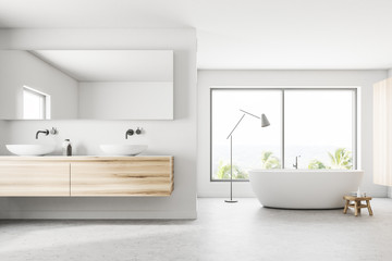 White panoramic bathroom sink and tub