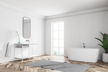 White loft bathroom corner, tub and sink