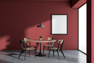 Minimalistic panoramic red dining room, frame