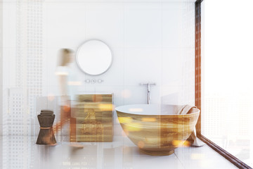 White bathroom, wooden tub and sink, side toned