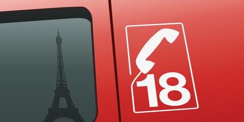 pompier - Paris - Tour Eiffel - pompier de paris - camion - incendie - secours - gros plan - feu - fond
