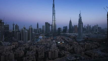 Fotomurales - sunrise timelapse, downtown of Dubai, UAE