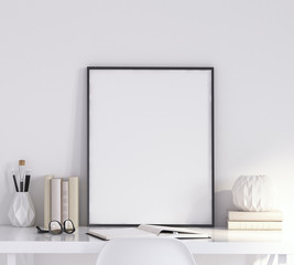 Mock up poster frame in living room, working area, Scandinavian style, 3d render