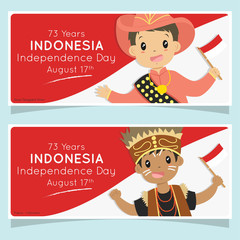 Indonesia independence day celebration banner design with Indonesian flag background, cartoon vector. Papua and Nusa Tenggara Timur boys holding Indonesian flags. Printable banner vector