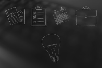 idea light bulb under a group of office items lined up from stats documents to to do list and calendar with office bag