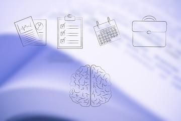 brain under a group of office items lined up from stats documents to to do list and calendar with office bag