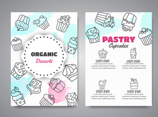 Cupcake newsletter with handdrawn cupcakes and pink splashes. Sweet pastry slogan for cafe. Bakery Desserts collection Vector
