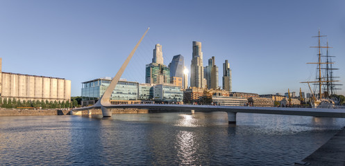 Panoramic view of Puerto Madero and Womens Bridge (Puente de la Mujer)  - Buenos Aires, Argentina