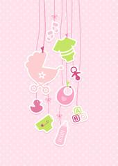 Baby Girl Symbols Hanging Dots Pin