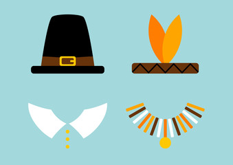 Thanksgiving Abstract Pilgrim/Native American Turquoise