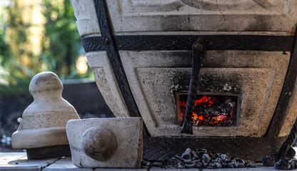 fired coals in tandoori