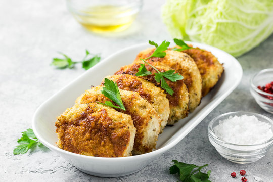 Healthy vegetable cutlets with herbs. Selective focus, space for text.