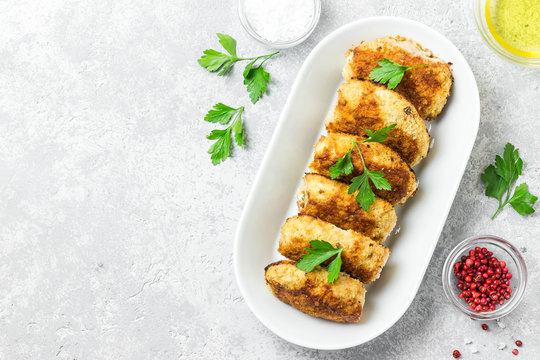 Healthy vegetable cutlets with herbs.Top view, space for text.