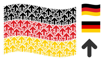 Waving Germany state flag. Vector arrow direction design elements are arranged into conceptual German flag collage. Patriotic illustration designed of flat arrow direction elements.