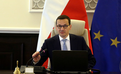Poland's Prime Minister Morawiecki during cabinet meeting in Warsaw