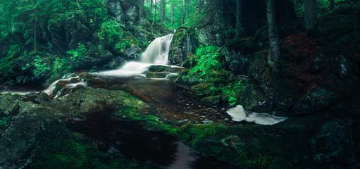 Wasserfall Panorama im Wald