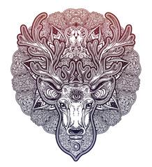 Ornate Deer head with beautiful antlers and sacred eye and decorative mandala.