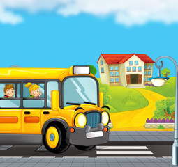 cartoon scene with school bus taking kids to school - illustration for children