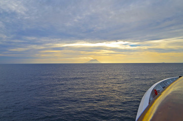 Cruise ship and Stromboli volcano