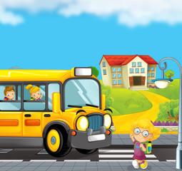 cartoon scene with school bus taking kids to school - illustration for children