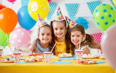 n's birthday. happy kids with cake