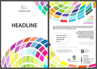 Flyer Template with Colorful Squares on White Background - Abstract Modern Graphics Illustration for Your Commercial Use, Vector