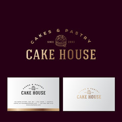 Cake house gold logo. Cakes and pastry emblem. Bakery and cafe logo. A beautiful cake and letters. Business card and pattern.