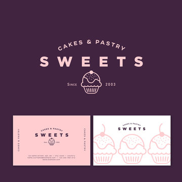 Bakery logo. Sweets cakes and pastry emblem. Bakery and cafe logo. A beautiful cake and letters. Business card and pattern.