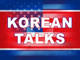 North Korean American Flags For Talks 3d Illustration