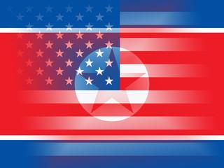 North Korean And United States Peace Flag 3d Illustration