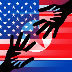 North Korean And US Diplomatic Hands 3d Illustration