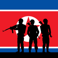 North Korean Soldiers And Flag 3d Illustration